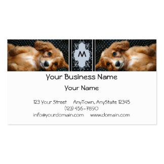Buff Colored Cocker Spaniel Puppy on Polka Dots Business Card Templates