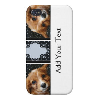 Buff Colored Cocker Spaniel Puppy on Polka Dots iPhone 4 Cases