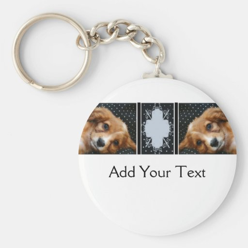 Buff Colored Cocker Spaniel Puppy on Polka Dots Keychains