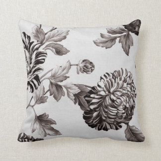 Buff Gray Taupe Vintage Floral Toile No.2 Cushion