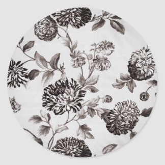 Buff Gray Taupe Vintage Floral Toile No.2 Round Sticker