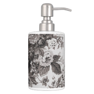 Buff Grey Taupe Vintage Floral Toile No.3 Soap Dispenser And Toothbrush Holder