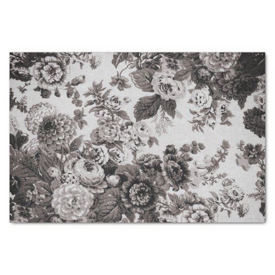 Buff Grey Taupe Vintage Floral Toile No.3 Tissue