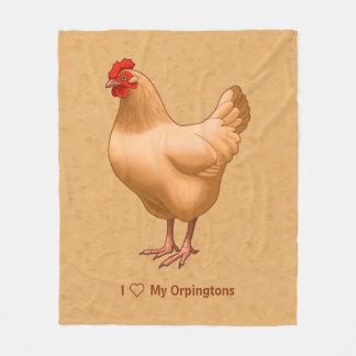Buff Orpington Chicken Hen Fleece Blanket