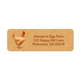 Buff Orpington Chicken Hen Return Address Label