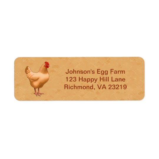 Buff Orpington Chicken Hen Return Address Label