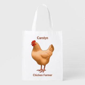 Buff Orpington Chicken Hen Reusable Grocery Bag