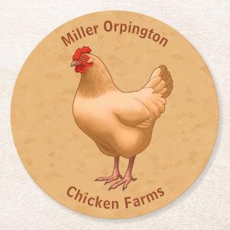Buff Orpington Chicken Hen Round Paper Coaster