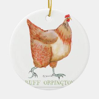 Buff Orpington hen, tony fernandes Round Ceramic Decoration