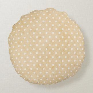 "Buff Soft White Tiny Dots Round Throw Pillow (16"")"
