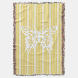 Buff Victorian Stripe with Butterfly Throw Blanket