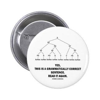 Buffalo (8 Times) Grammatically Correct Sentence 6 Cm Round Badge