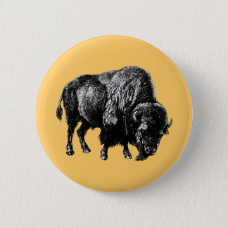 Buffalo American Bison Vintage Wood Engraving 6 Cm Round Badge