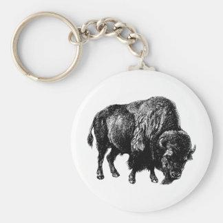 Buffalo American Bison Vintage Wood Engraving Key Ring