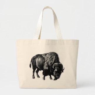 Buffalo American Bison Vintage Wood Engraving Large Tote Bag