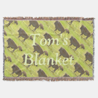 Buffalo and Calf Coloured Pencil Personalised Throw Blanket