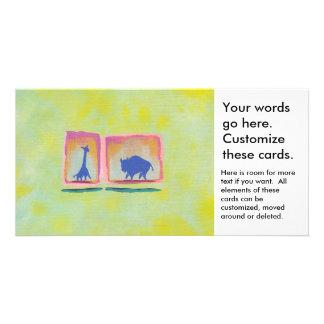 Buffalo and Giraffe original art modern painting Photo Card