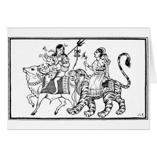Buffalo and tiger card