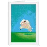 Buffalo art fun happy leaping white bison painting cards