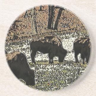 Buffalo Art Wild West Western Theme Coaster