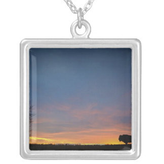 Buffalo At Sunset In Elk Island National Park Silver Plated Necklace
