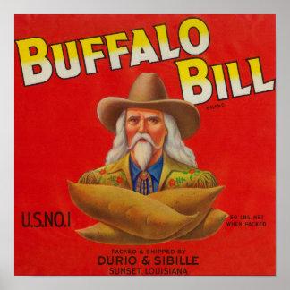 Buffalo Bill Brand Yam Crate Label Poster