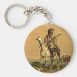 "Buffalo Bill ""The Scout"" Vintage Advertisement Basic Round Button Key Ring"