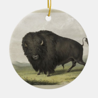 Buffalo Bull Grazing by George Catlin Christmas Ornament
