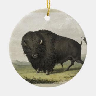Buffalo Bull Grazing by George Catlin Round Ceramic Decoration