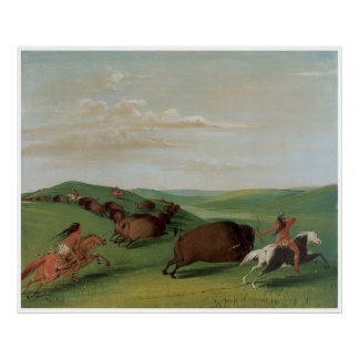 Buffalo Chase with Bows and Lances, 1832-33 Poster