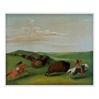Buffalo Chase with Bows and Lances by Catlin Print