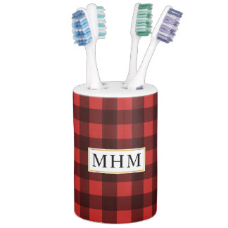 Buffalo Check Black and Red Lumberjack Monogram Bathroom Set