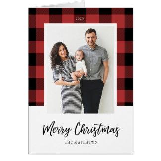 Buffalo Check Christmas Photo Greeting Card