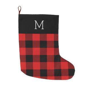Buffalo Check Monogrammed Christmas Stocking