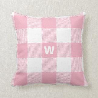 Buffalo Check Pastel Pink Monogram Cushion