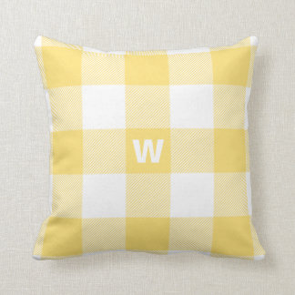 Buffalo Check Pastel Yellow Monogram Cushion