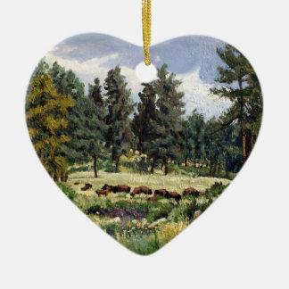 Buffalo Grazing in South Dakota Oil Painting Ceramic Heart Decoration