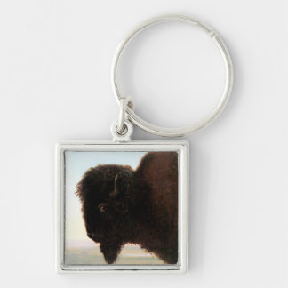 Buffalo Head art Albert Bierstadt bison painting Key Ring