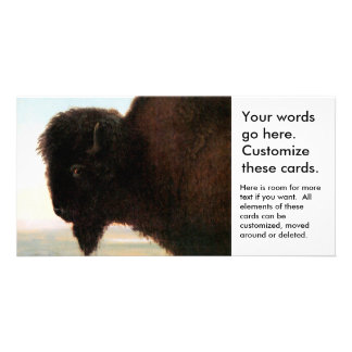 Buffalo Head art Albert Bierstadt bison painting Picture Card