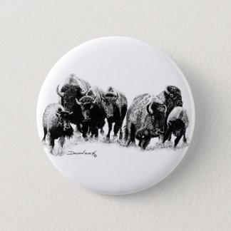 Buffalo Herd 6 Cm Round Badge