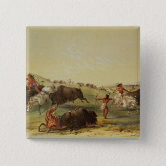 Buffalo Hunt 15 Cm Square Badge
