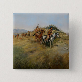 Buffalo Hunt, 1891 (oil on canvas) 15 Cm Square Badge