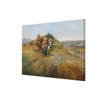 Buffalo Hunt, 1891 (oil on canvas) Canvas Print