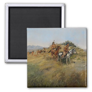 Buffalo Hunt, 1891 (oil on canvas) Magnet