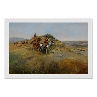 Buffalo Hunt, 1891 (oil on canvas) Poster