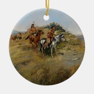 Buffalo Hunt, 1891 (oil on canvas) Round Ceramic Decoration