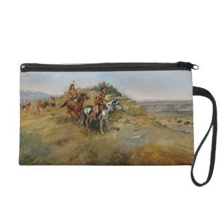 Buffalo Hunt, 1891 (oil on canvas) Wristlet Clutch