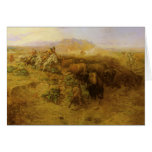 Buffalo Hunt by CM Russell, Vintage Indians Greeting Cards