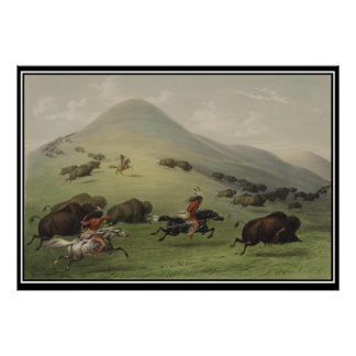 Buffalo Hunt by Native Americans Vintage Poster