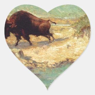 Buffalo Hunt by Robert Julian Onderdonk Heart Sticker